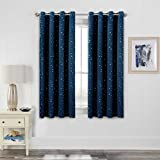 H.VERSAILTEX Blackout Curtains Kids Room for Boys Girls Thermal Insulated Twinkle Silver Stars Pattern Curtain Drapes, Grommet Top, 1 Panel, 40' W x 63' L, Navy
