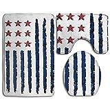 Juego de alfombrillas de baño American Celebration con símbolo de bandera vertical, juego de alfombras de baño de 3 piezas Alfombras de baño antideslizantes / Alfombrilla de contorno / tapa del inodor