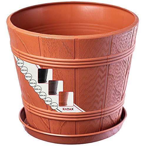 KADAX Macetero con platillo, para interiores y exteriores, aspecto de madera, resistente a la intemperie, para flores, jardín, balcón (diámetro de 17 cm, terracota)