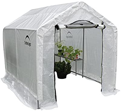 ShelterLogic 6' x 8' x 6.5' GrowIT Greenhouse Peak Roof Style Backyard Grow House with Integrated Shelving, 6' x 8' x 6', Translucent