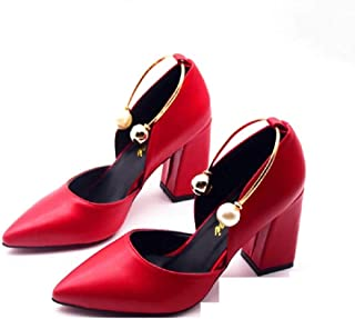 THE LONDON STORE Women's Red Leather Pearl Metal Buckle Strape Pointed Toe Party Pumps
