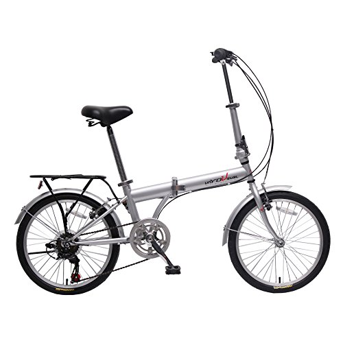"unYOUsual U Transformer 20"" Folding City Bike Bicycle 6 Speed Shimano Gear Steel Frame Mudguard Rear Carrier Front Rear Wheel Reflectors Silver"