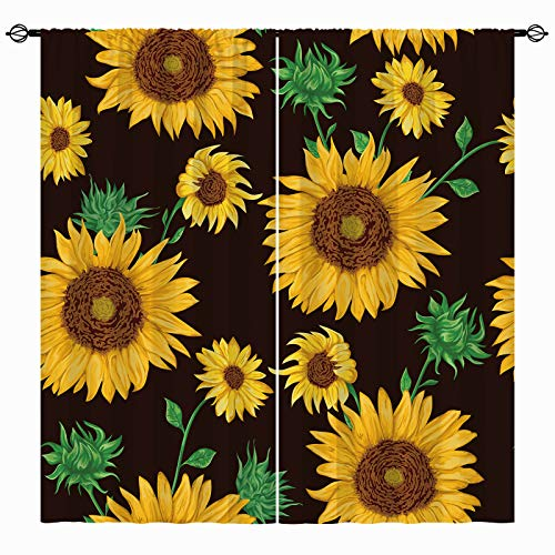 ANHOPE Sunflower Curtains for Bedroom, Rod Pocket Curtains with Yellow Flower Green Leaf Plant Print Pattern Oil Painting Art Theme Window Drapes for Living Room Kitchen Office, 2 Panels, 42 x 84 Inch