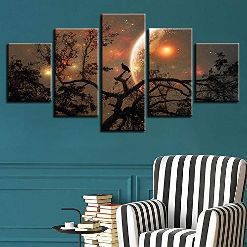 GONGXIANG 5 Pieces Of Canvas Art Furniture Decoration Dark Tree Moon Space – Moviegifts With Frames Can Be Hung (60X32 Inches)