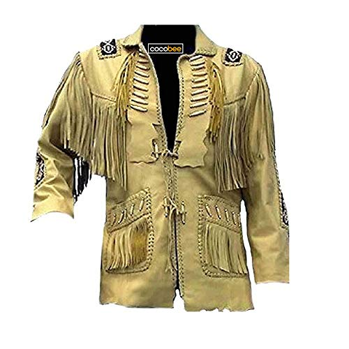 Men's Traditional Cowboy Western Leather Jacket Coat with Fringe Native American Jacket Suede Beaded-XL Black