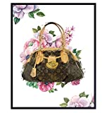 Picture of Louis Vuitton LV Designer Handbag - Glam Wall Decor - Couture Room Decoration - Shabby Chic Luxury Gift for Women, Teens, BFF - High Fashion Design Glamour Wall Art - 8x10 Floral Poster