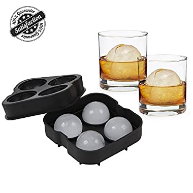 Ice Ball Maker Flexible Silicone Sphere Ice Molds for Whiskey Drinking, FDA Approved Food-Grade by Bseen
