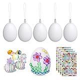 Beinhome 50 x Huevos de Pascua Decorativos Huevos de Plastico con 4 Hojas Diamantes Autoadhesivas, Huevos Blancos Huevos de Pascua para Pintar Colgar, Decorar (con Cuerda)