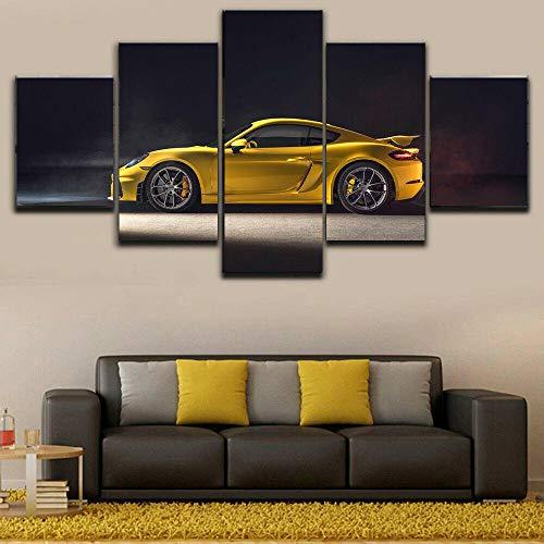 Leinwanddrucke 5 Stück Kunstdruck Wandbild 150×80Cm 718 Cayman Gt4 Sportwagen Mehrteilig Aufhängen Bilder Für Wohnzimmer Wohnkultur,Hd Gedruckt Rahmen Segeltuch Malerei