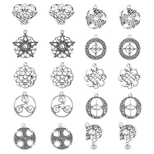 SUNNYCLUE 20Pcs Celtic Knot Charms Pagan Charms Pendants Antique Silver Charms DIY Jewelry Making Bracelets Necklace for Beginners Adults
