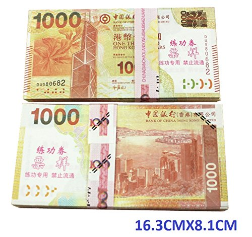$1000X100 Pcs Total $100,000 Dollar Hongkong HKD Currency Props Money Bills Real Looking Copy Double-Sided Printing - for Movie, TV, Videos, Advertising & Novelty