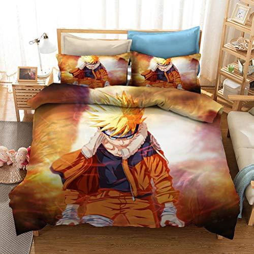 DDONVG Naruto Anime Uzumaki Naruto - Juego de cama estampado, funda nórdica y funda de almohada, para niños y jóvenes (220 x 240 cm)