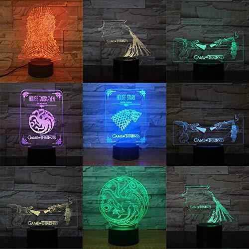 Casa Stark Wolf Ice and Tinder Cambio de Color Night Light Sleep Dormitorio Decoración Luces Boy Gift