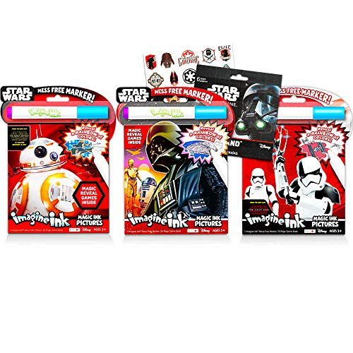 Star Wars Magic Ink Coloring Book Super Set -- 3 Magic Ink Books for Kids Toddlers Boys Girls with Star Wars Stickers (Mess Free Coloring Bundle)