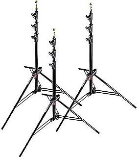 Manfrotto 1004BAC-3 Kit 3 Stativi, Serie Babylight, Massima Altezza 366 cm per Luci, 4 Sezioni, in Alluminio, Nero