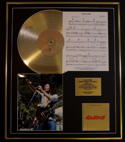 BOB MARLEY/CD Gold DISC, HOJA DE CANCIÓN Y FOTO DISPLAY/LTD. EDICIÓN/COA/ÁLBUM, Éxodo/hoja de canción, un amor