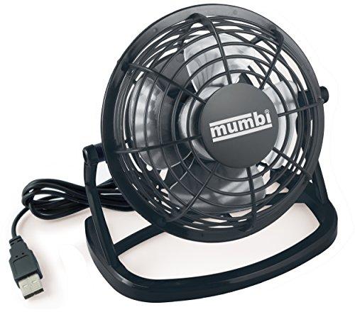 mumbi USB Ventilator, Mini Fan klein für den Schreibtisch mit Ein/Aus-Schalter, schwarz