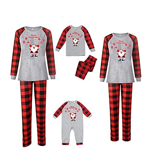 2021 Pijamas de Navidad Familia Conjunto Pantalon y Top Pijamas Mujer Hombre Invierno Moda Impresión a cuadros Manga Larga Ropa de Dormir 2 Piezas Mamá Papá Niños Niña Bebés Homewear Romper