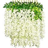 NITAIUN 12 Piezas Artificiales Flores Wisteria, Artificiales de Glicina Falsas Planta de Guirnalda Glicina Artificial para Boda Arco Fiesta Hogar Jardín Hotel Decoración 110CM (Blanco)