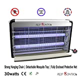 Pest Control 30W, Electric, Insect, Mosquito, Bug, Moth, Fly or Any Pest Killer Zapper, 220v UK Plug, Powerful 2800V Grid, Energy Saving, Ultraviolet Light Bulb, Indoor Use, Silver, Black