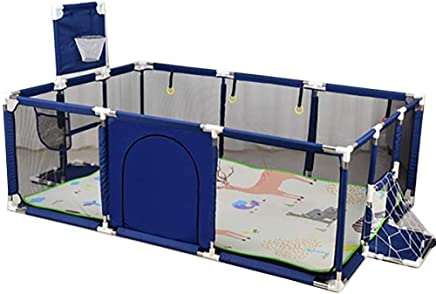 AUKBEC Babys Fence Large Toddler Twin Crawl Walker  Foldable Safety Play Game Yard Guard Bar with Mat  amp  Basketball Hoop  Extra Tall 66Cm Toy Room  Red Blue