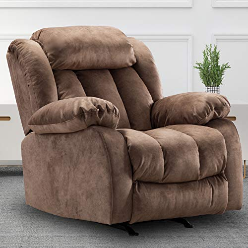 Rocker Recliner Chair, Leather Recliners on, Oversized Recliner Sofa, Contemporary Overstuffed Arms and Back (Brown)