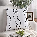 Pillow Cover Decorative Set Stylized Silhouettes Face Care Woman Sexual Bodystock People Abstract Beauty Fashion Glamour Throw Pillow Cover Cushion Case for Couch Home Farmhouse Decor 16x16 Inch