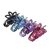 FRCOLOR 4pcs Kunststoff große Haargreifer Clip Schmetterling Kiefer Clip Haarspange für Frauen (Mischfarbe)