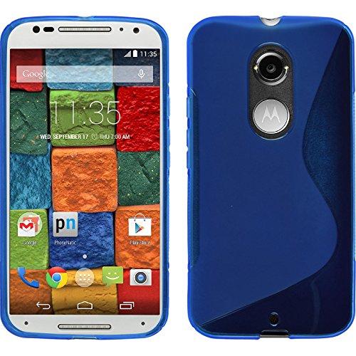 PhoneNatic Custodia Compatibile con Motorola Moto X 2014 2. Gen. Cover Blu S-Style Moto X 2014 2. Gen. in Silicone + Pellicola Protettiva