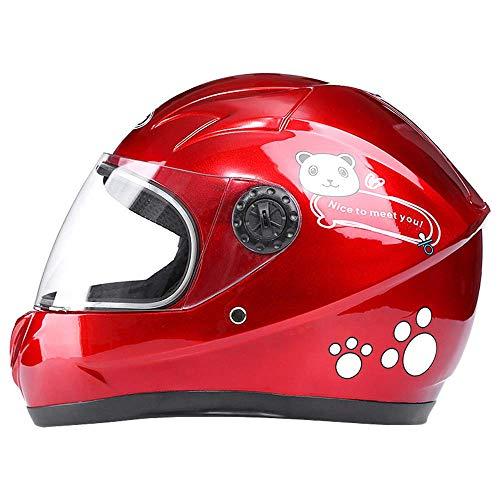 Lxhff Kinderschutzhelm, Sicherheitsschutz Scootersaurus Leicht einstellbare Komfortabler mit Spiegel Visier Helm for Roller, Scooter, Skateboard, Fahrrad (3-8 Jahre alt) (Color : Red)