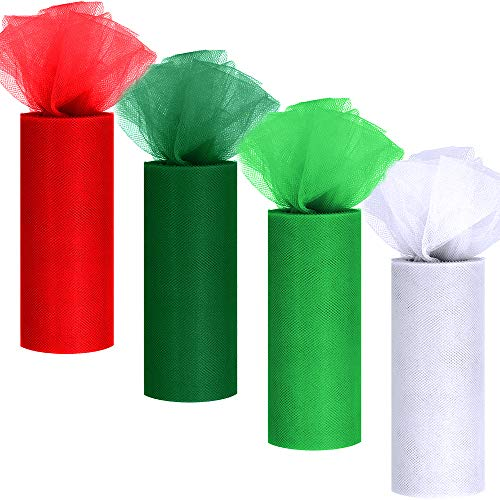 4 Colors Christmas Tulle Rolls White Green Red Tulle Fabric Ribbon Tulle Netting Rolls Spool - 6' by 25 Yards/Spool for Holiday Season Wreath Hair Bows Party Table Skirt Dress