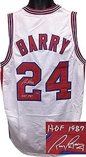 Rick Barry Autographed Jersey - ABA White TB Custom Stitched HOF 1987 Size L) - Autographed NBA Jerseys