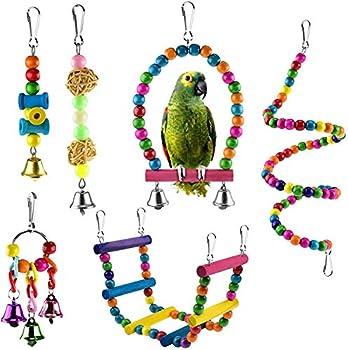123 Life Bird Perroquet Jouets pour animaux domestiques en bois Support à suspendre échelle Balançoire à oiseaux jouets à mâcher Cloche pour animaux domestiques Cage hamac Jouet Perruches 6 pièces