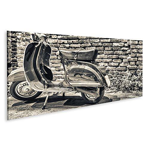 Cuadro en Lienzo Milano Italia septiembre Viejo Vespa estacionado a lo Largo de navigli Noche Moto Italiana Cuadros Modernos Decoracion Impresión Salon