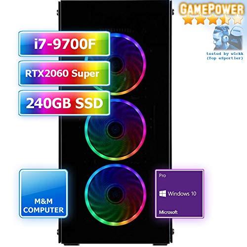 M&M Computer Dresden Gaming PC Esports, Intel i7-9700F CPU, RTX 2060 Super 8GB, 240GB SSD, 16GB DDR4 RAM, MS-Windows 10 Pro
