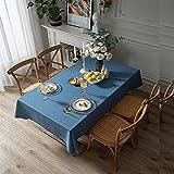 EMPERSTAR manteles Individuales plastico Oficina Sala de reuniones de Color Liso de algodón y Lino Rectangular Impermeable Hemp Blue 120x180