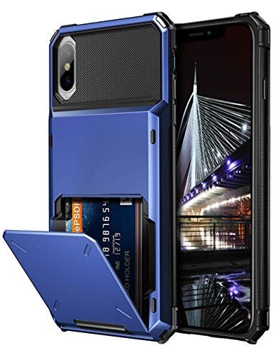 Vofolen Case for iPhone Xs Case iPhone X Wallet ID Slot Credit Card Holder Scratch Resistant Dual Layer Protective Bumper Rugged TPU Rubber Armor Hard Shell Cover for iPhone X XS 10 10S (Navy)