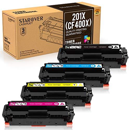 STAROVER Kompatibler Toner Kartuschen Ersatz für HP 201A 201X CF400A CF400X CF401X CF402X CF403X für HP Color Laserjet Pro MFP M252dw M252n M277dw M277n M274n M274dw Drucker (4 Packung)