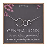 EFYTAL Generations Necklace for Grandma Gifts - Sterling Silver Mom Granddaughter Mothers Day...