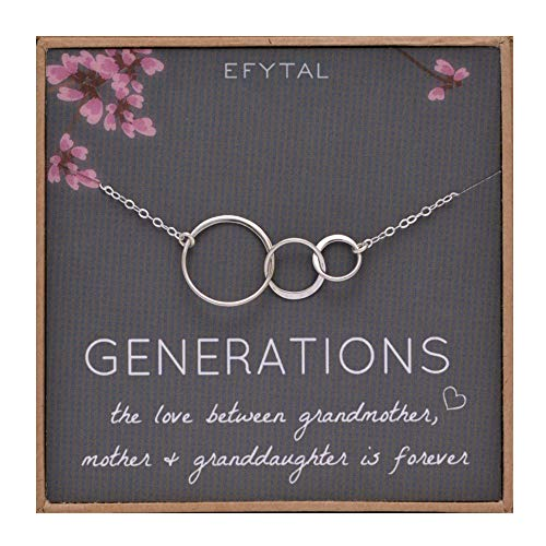 EFYTAL Generations Necklace for Grandma Gifts - Sterling Silver Mom Granddaughter Mothers...