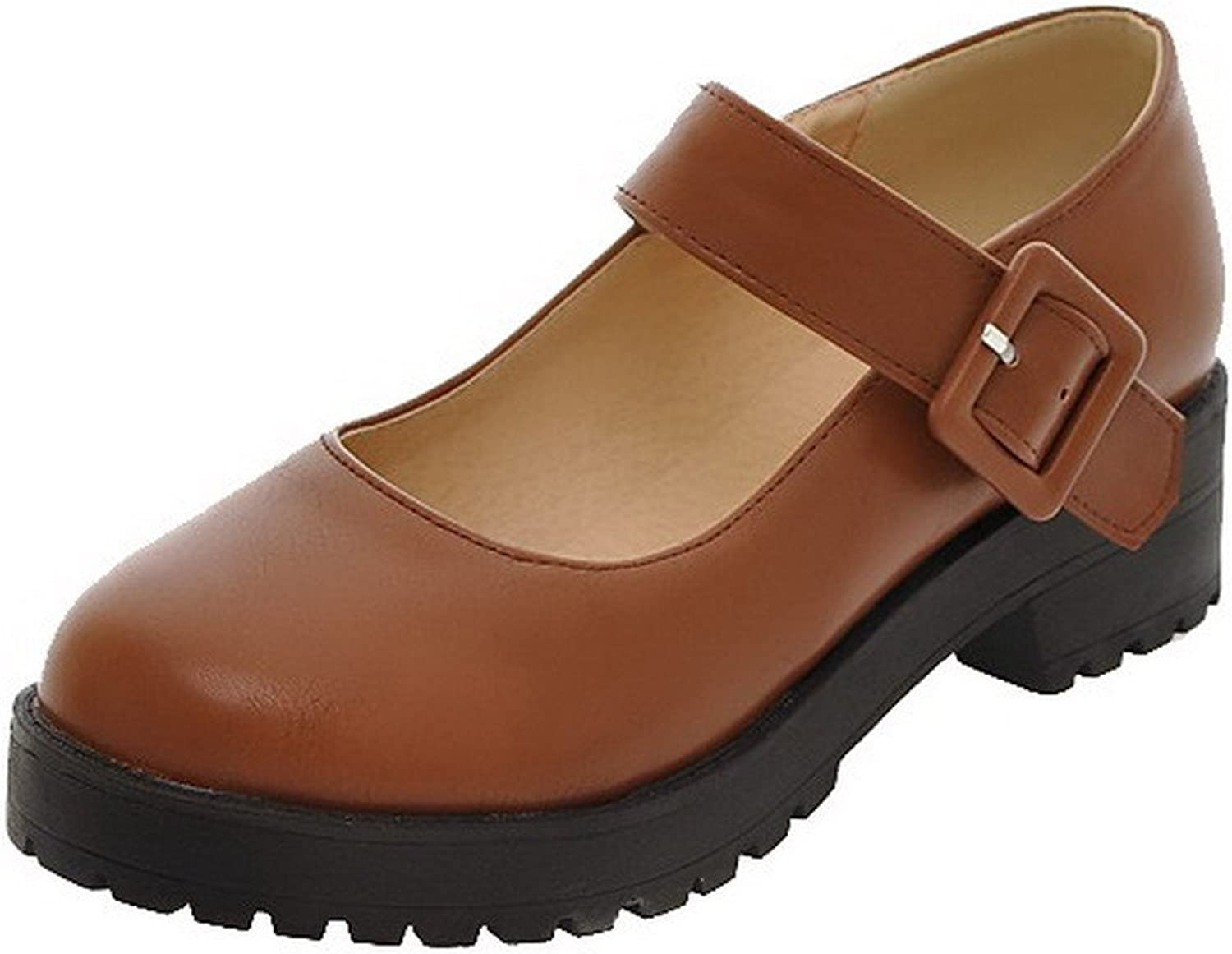 AmoonyFashion Women's Soft Material Round Closed Toe Buckle Solid Court shoes