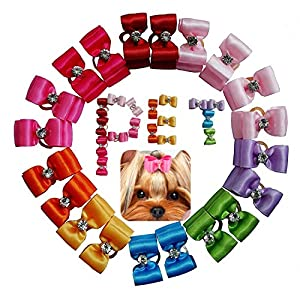 petalk 20PCs/Pack Dog Bows Puppy Topknot 2-Lays Solid Color Small Dog Hair Bows with Rubber Bands Dog Grooming Accessories (Color 2)