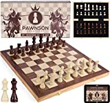 Wooden Chess Set for Kids and Adults - 15 Staunton Chess Set - Large Folding Chess Board Game Sets - Storage for Pieces | Wood Pawns - Unique E-Book for Beginner - 2 Extra Queens