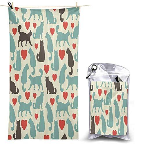 Cat Lover Decor Collection - Toalla de baño (secado rápido, súper absorbente, ligera, con corazones, forma de gatito, animal doméstico, tamaño grande, 160 x 78,7 cm)