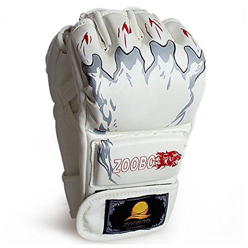 ZooBoo MMA Gloves, Half-Finger Boxing Fight Gloves MMA Mitts with Adjustable Wrist Band for Sanda Sparring Punching Bag Training (One Size Fits Most)