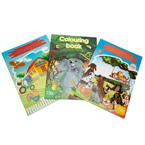 Libro para Colorear para Niños y Niñas a partr de 2 año. Actividad Educativa y Divertida. Cuaderno Colorear Animales y Granja. 3 Libros Grandes Infantiles para Pintar.