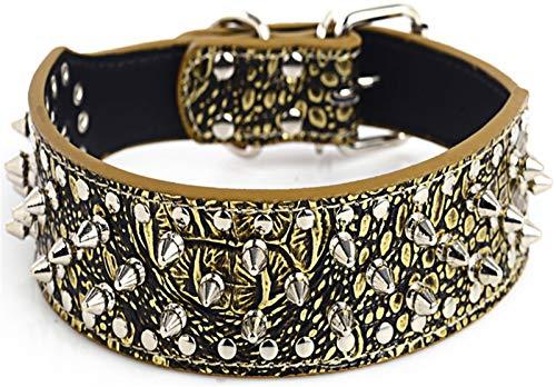 DHGTEP Collar de Perro de Cuero Ancho, Collar de Perro Ajustable Suave Acolchado para Cachorros Collares para Perros Pequeños, Medianos y Grandes (Color : Golden Brown, Size : 51x5CM)