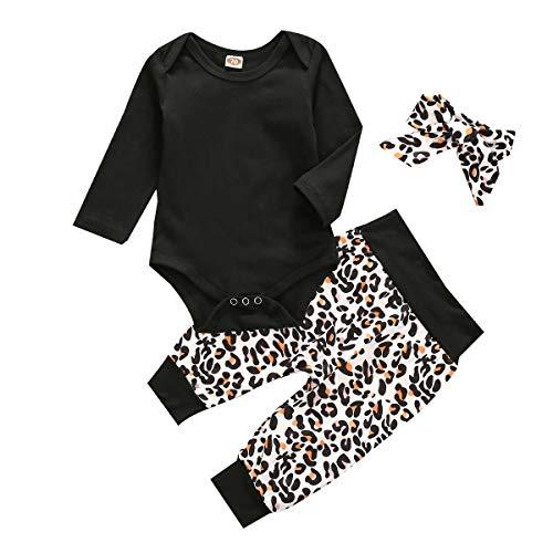 Carolilly - Conjunto de ropa de bebé para otoño e invierno (3 piezas), diseño de leopardo y diadema Negro 18-24 meses