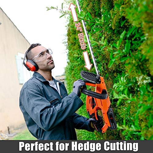 Goplus 20V Cordless Hedge Trimmer w/ 24-Inch Dual Action Blade, Battery Powered Gardening Hand Pruner, Orange