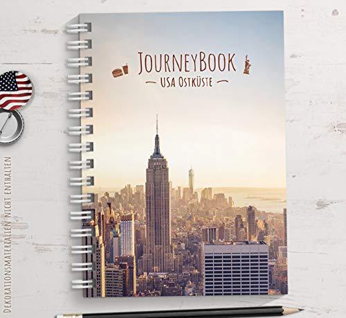 Reisetagebuch USA/Amerika OSTKÜSTE zum selberschreiben oder als Abschiedsgeschenk - DIN A5 mit animierenden Aufgaben und Challenges und Reise-Zitaten